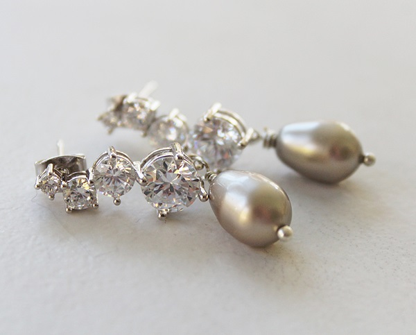 Gray Glass Pearl and CZ Earrings - The Gillian Earrings