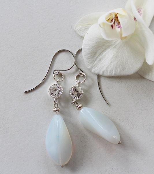Cubic Zirconia and Vintage Milk Glass Earrings - The Cheri Earrings