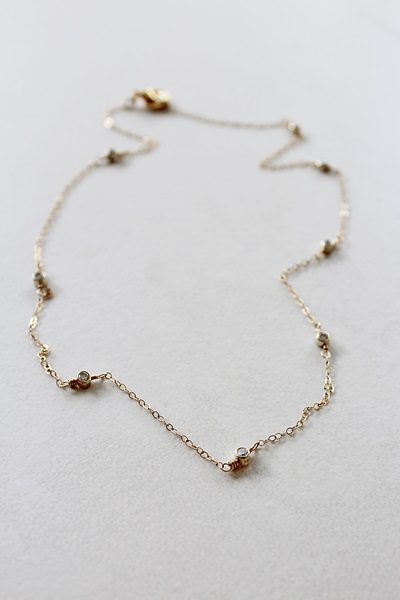 CZ and 14kt Gold Choker Necklace - The Elle Necklace