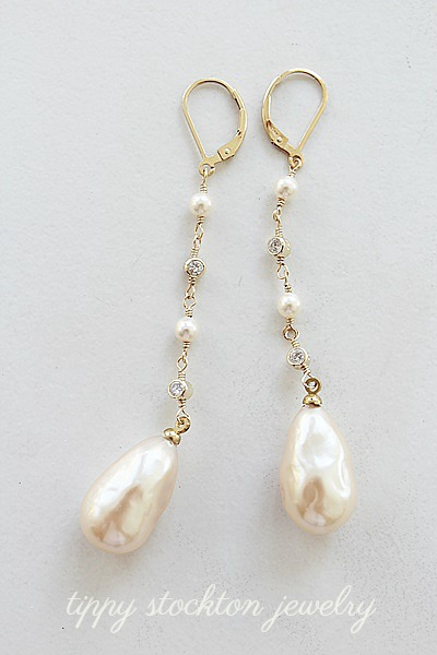 Vintage Glass Pearls and CZ Earrings - The Leigh Earrings