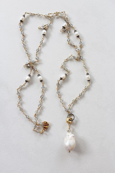 Labradorite and Fresh Water Pearl Necklace - The Laurena Necklace