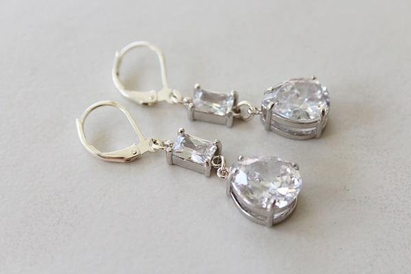 CZ and Sterling Silver Drops - The Rachel Earrings
