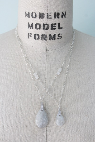 Moonstone Pendant with CZ Bail Necklace - The Chelsea Necklace