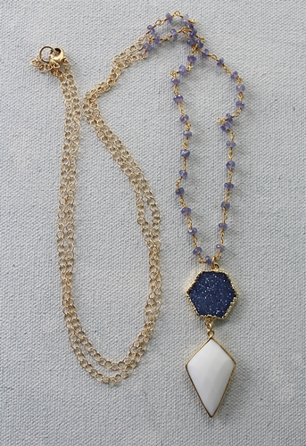 Blue Druzy White Agate and  Tanzanite Necklace - The Lainea Necklace