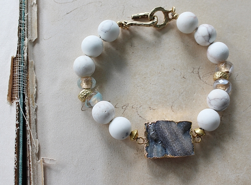Druzy and White Turquoise Bracelet - The Devon Bracelet