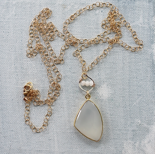 White Chalcedony Pendant Mixed Metal Necklace - The Shayna Necklace