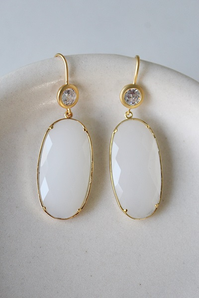 Snow Quartz and CZ Earrings - The Kira Earrings