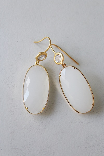 Snow Quartz and CZ Earrings - The Kira Earrings