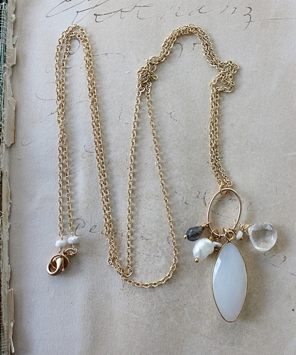 White Chalcedony Mixed Gem Necklace - The Vera Necklace