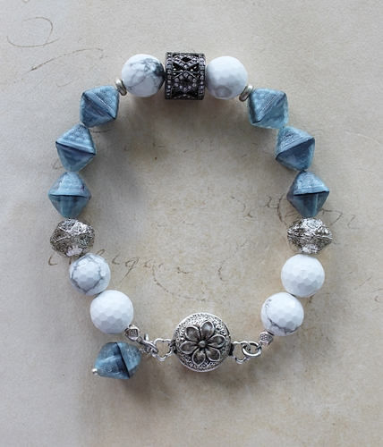 White Faceted Turquoise and Vintage Czech Glass Bracelet - The Brynna Bracelet
