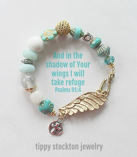 Mixed Glass and Wing Bracelet - The Gabriel Bracelet