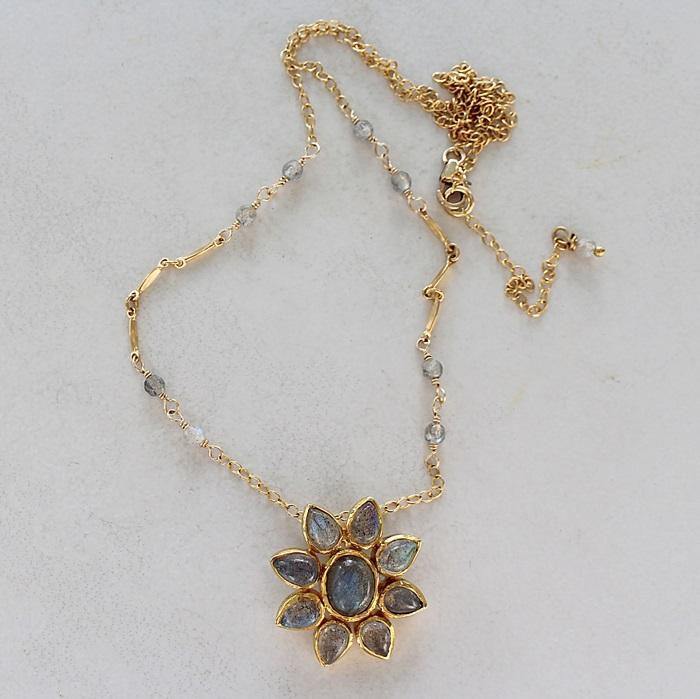 Labradorite Flower Pendant Necklace - The Camille Necklace