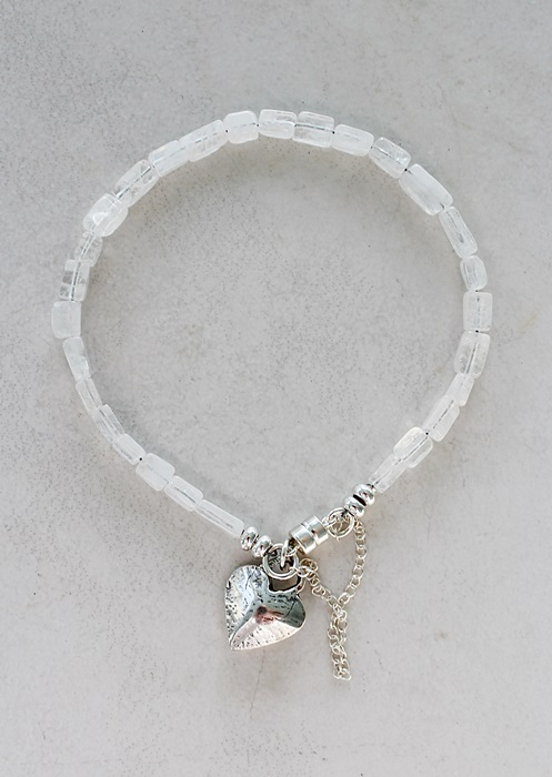 Moonstone Skinny Bracelet with Sterling Heart Charm Bracelet - The Tory Bracelet