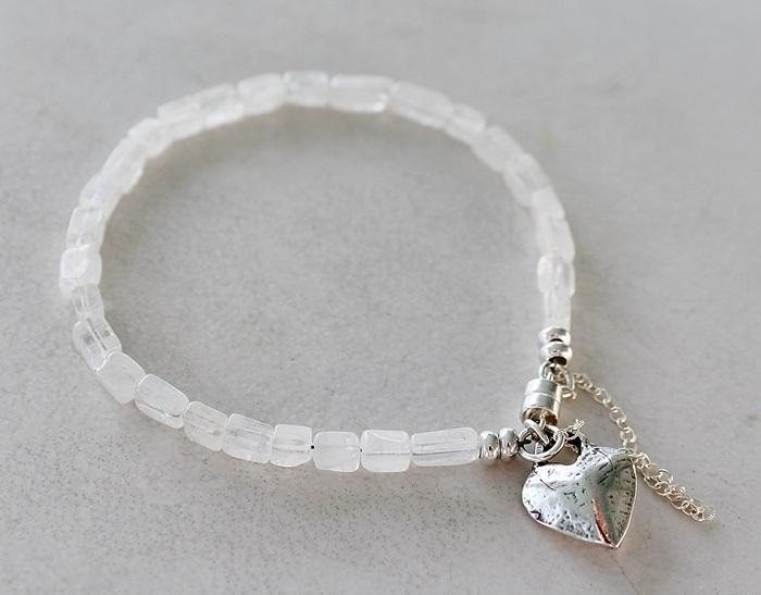 Moonstone Skinny Bracelet with Sterling Heart Charm Bracelet - The Tory Bracelet