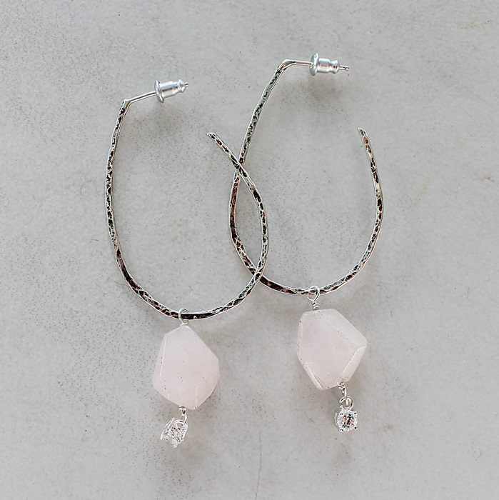 Sterling Silver Hoop Posts and Rough Cut Rose Quartz Earrings - The Rose Earrings