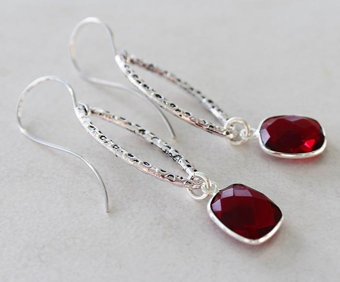 Sterling Silver Hoop and Garnet Earrings - The Susan Earrings