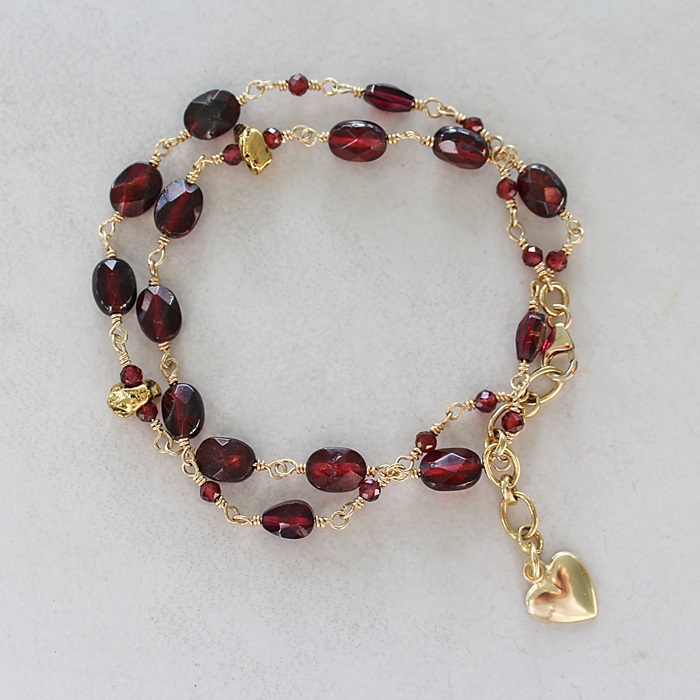 Garnet Double Wrap with Heart Charm Bracelet - The Dianna Bracelet