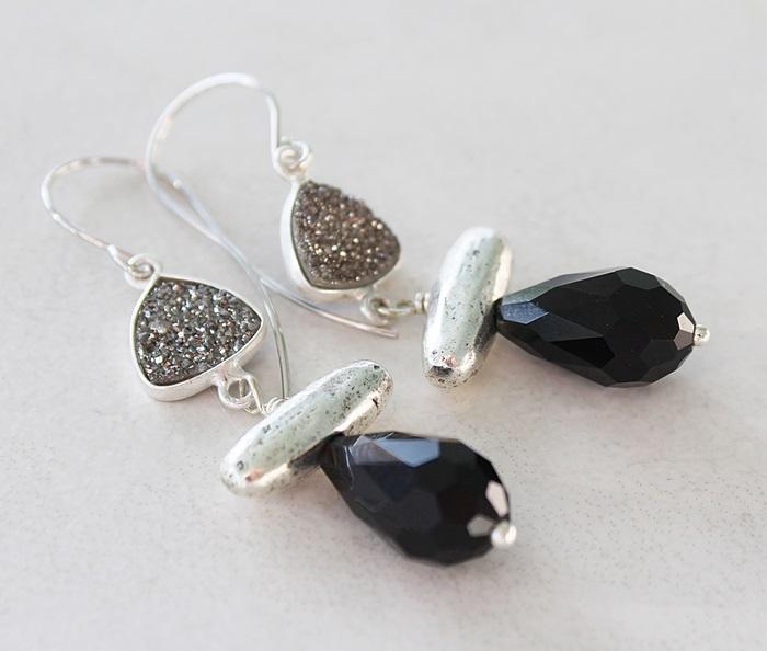 Black Glass and Drusy Earrings - The Dana Earrings