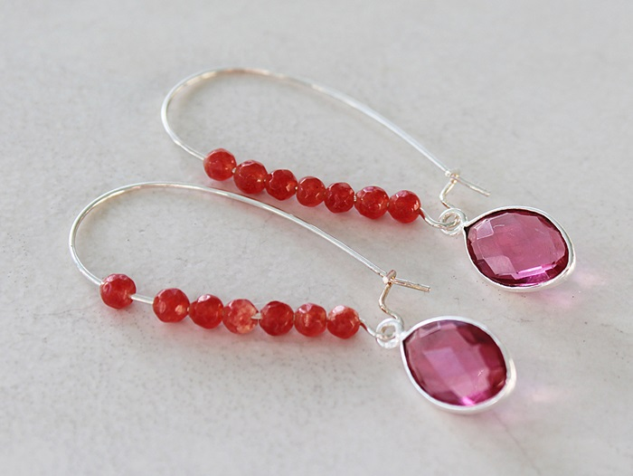 Fuschia Quartz and Carnelian Earrings - The Corinne Earrings
