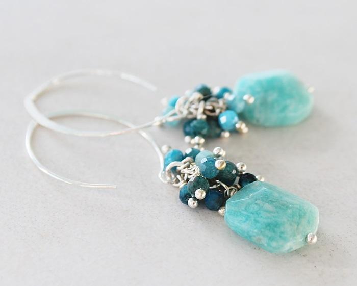 Amazonite and Apatite Earrings - The Calais Earrings