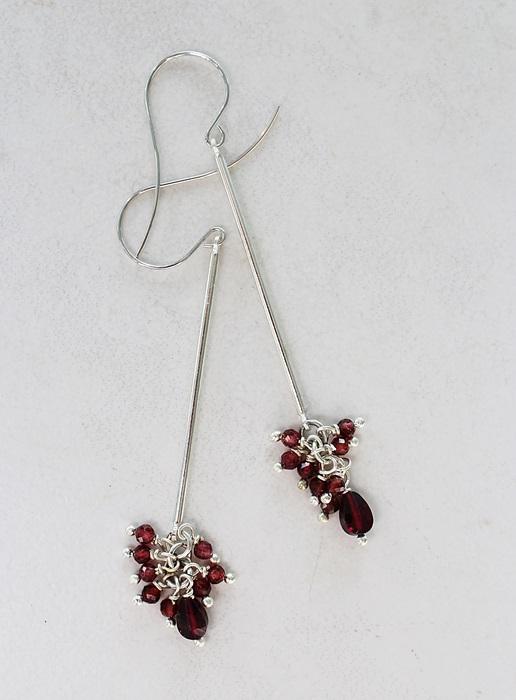 Sterling Silver and Garnet Stick Earrings - The Ella Earrings