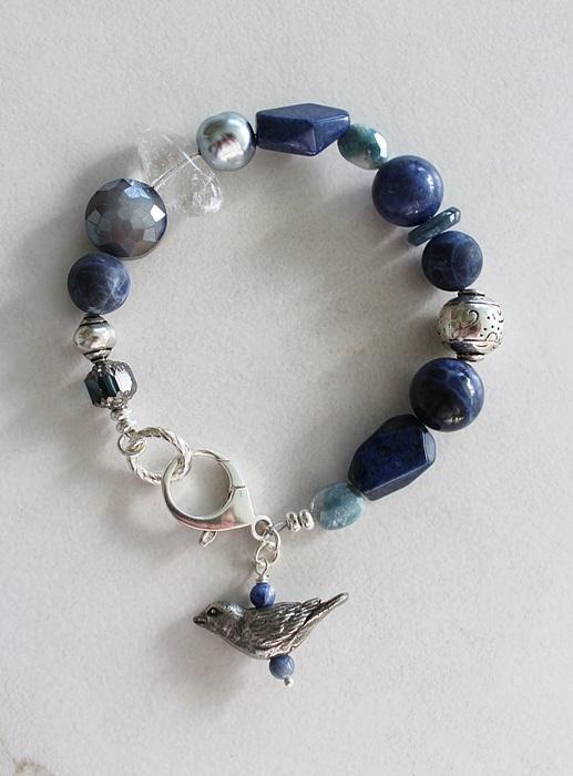 Mixed Gem and Glass Bracelet - The Bluebird Bracelet