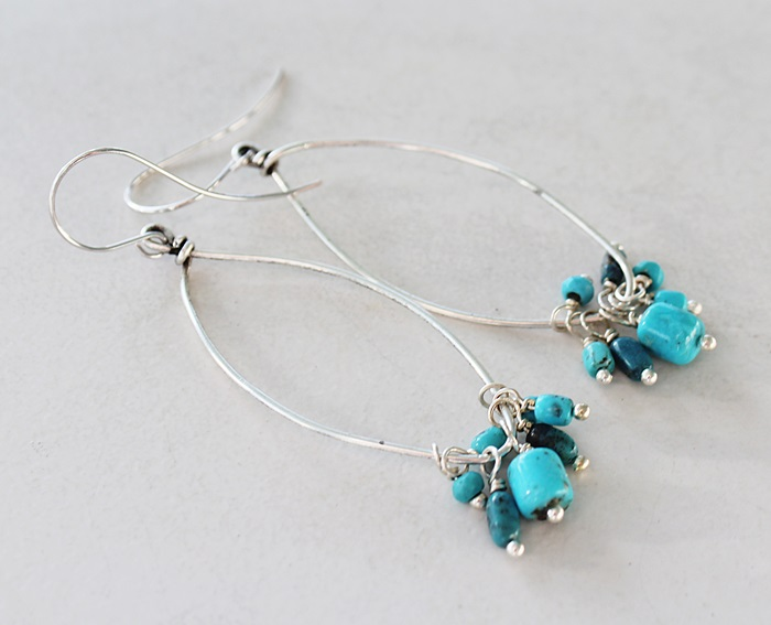Turquoise Clusters on Rustic Silver Hoop Earrings - The Santa Fe Earrings