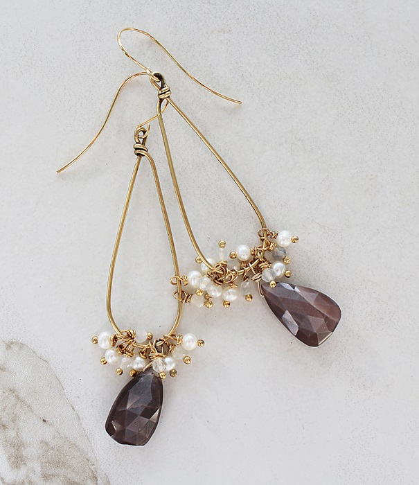Chocolate Moonstones and Fresh Water Pearl Hoop Earrings - The Jennifer Earrings
