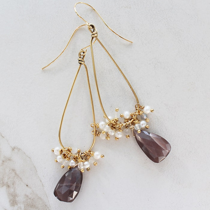 Chocolate Moonstones and Fresh Water Pearl Hoop Earrings - The Jennifer Earrings