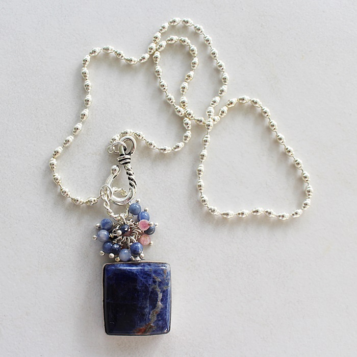 OOAK Sodalite Sterling Silver Pendant Cluster Necklace - The Ginny Necklace