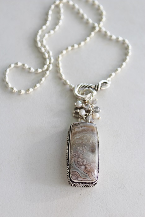 OOAK Rectangle Agate Pendant Cluster Necklace - The Eva Necklace