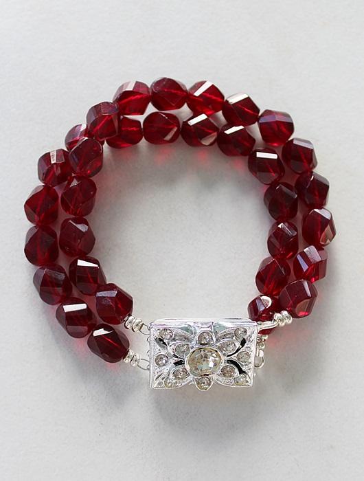 Vintage Rhinestone Clasp Cuff Bracelet - The Ruby Bracelet