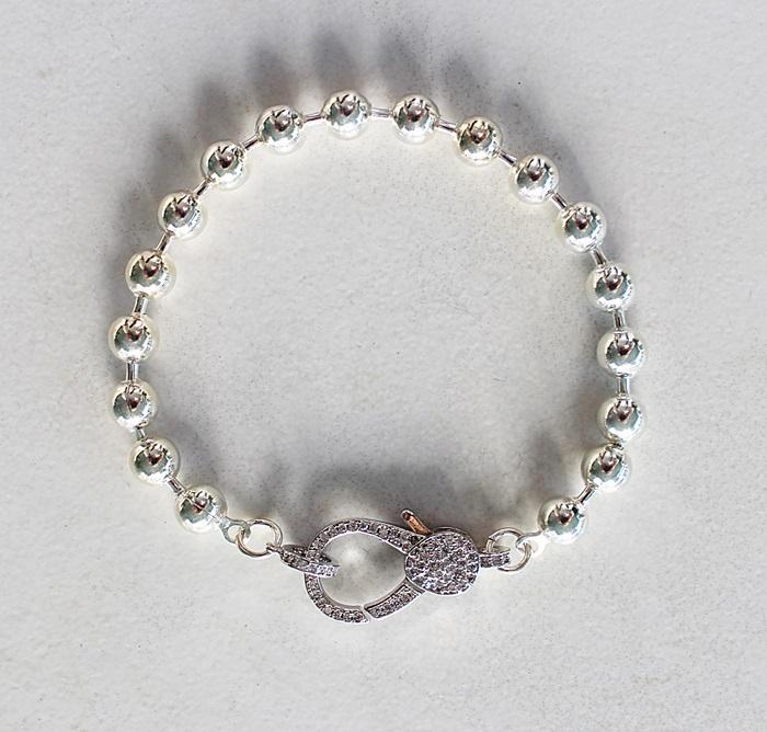 Sterling Clad and CZ Clasp Bracelet - The Nova Bracelet
