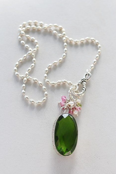 OOAK Peridot Cluster Pendant Necklace - The Lily Necklace