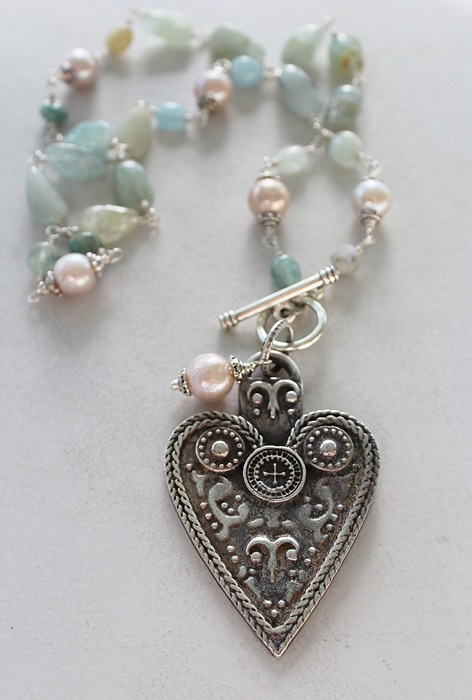 Amazonite, Aquamarine and Fresh Water Pearl Heart Necklace - The Paisley Necklace