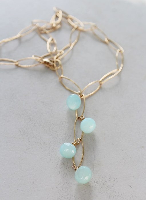 Aqua Chalcedony Waterfall Necklace - The Hanalei Necklace