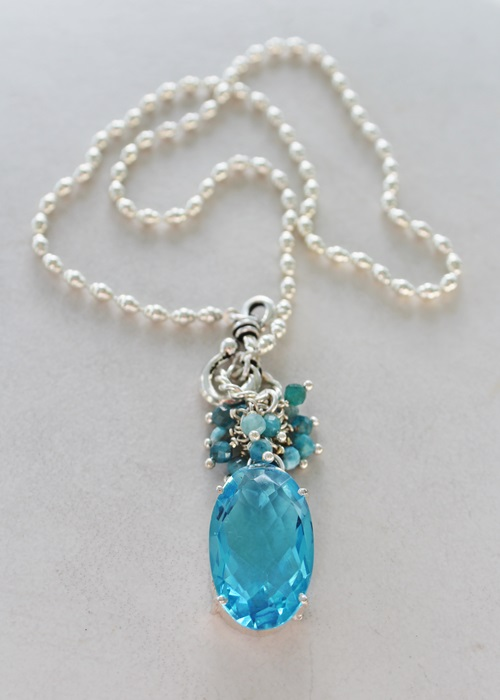 OOAK Aquamarine Cluster Pendant Necklace - The Tara Necklace