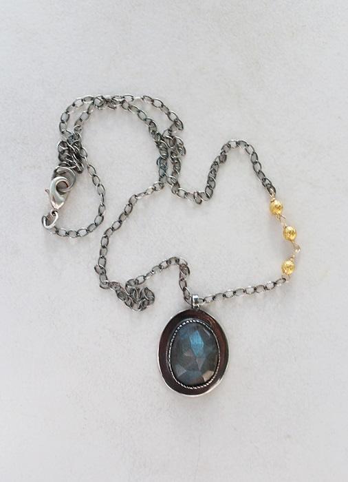 Oxidized Sterling Silver Labradorite Pendant Necklace - The Jeanne Necklace
