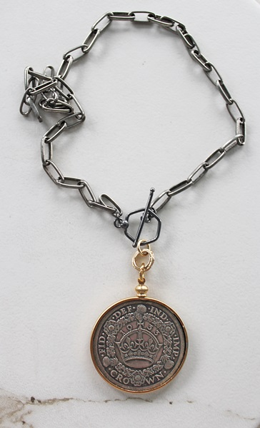 Vintage French Crown Medallion on Oxidized Silver Chain -  The Crown Necklace