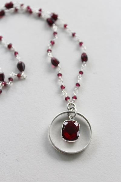 Garnet Pendant and Sterling Silver Necklace - The January Necklace