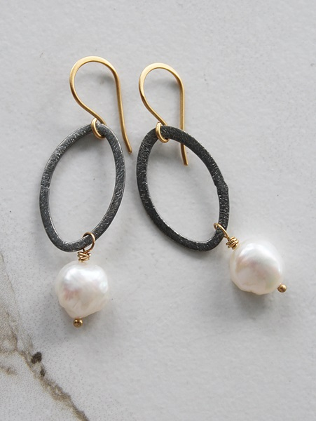 Mixed Metal and Fresh Water Pearl Earrings - The Lauren Earrings