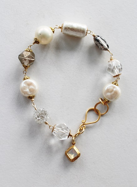 Mixed Gem and Glass Pearl Bracelet - The Eleanor Bracelet