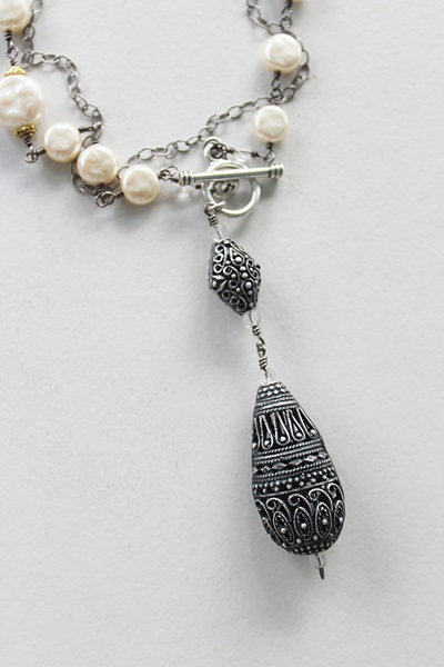 Vintage Miriam Haskell Pearls, Oxidized Sterling Silver Filigree Pendant - The Allyson Necklace