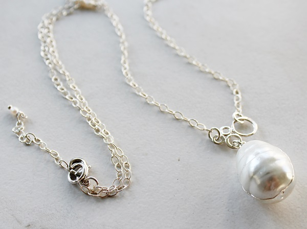 Baroque Sterling Silver Wrapped Pearl Necklace - The Sylvie Necklace