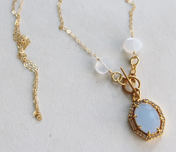 Blue Chalcedony and CZ Pendant Necklace - The Charity Necklace