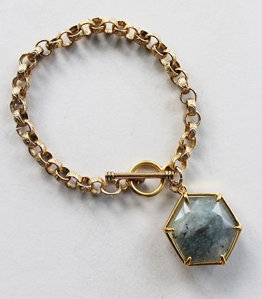 Labradorite Hexagon on Gold Bracelet - The Jaclyn Bracelet