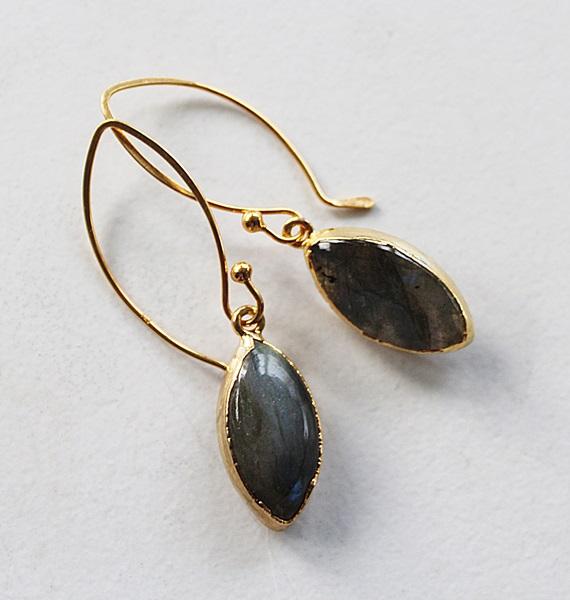 Labradorite Marquis Earrings on 14kt Gold Earwires - The Jaclyn Earrings