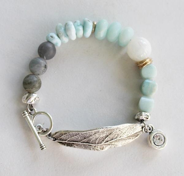 Organic Mixed Gem Leaf Bracelet - The Awaken Bracelet