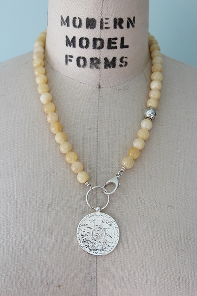 Yellow Jade and Victory Medal Lariat Necklace - The Liesl Necklace