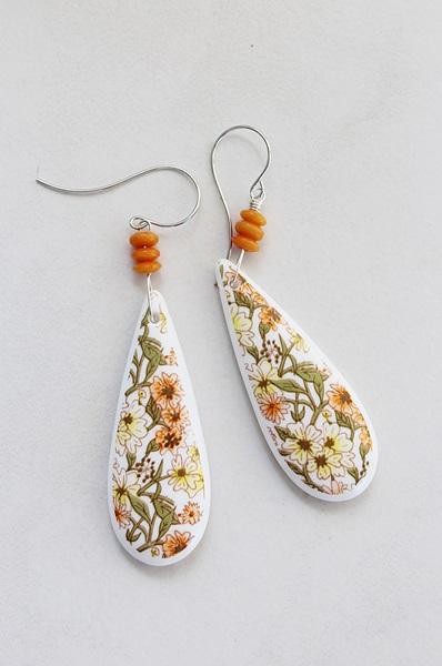 Vintage Lucite Floral Motif Drop Earrings - The Annie Earrings
